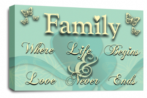 Family Quote Wall Art Picture Duck Egg Cream Love Print
